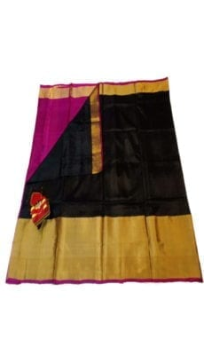 Black & Magenta Uppada Silk Saree With Contrast Pallu-yespoho