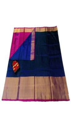 Royal Blue & Magenta Uppada Silk Saree With Contrast Pallu-yespoho