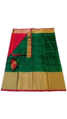 Dark Green & Bright Red Uppada Silk Saree With Contrast Pallu-yespoho