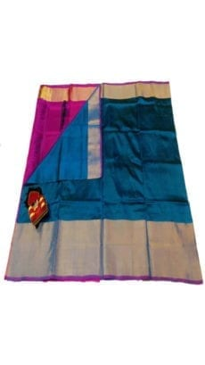 Blue & Magenta Uppada Silk Saree With Contrast Pallu-yespoho