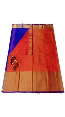 Dark Orange & Blue Uppada Silk Saree With Contrast Pallu-yespoho