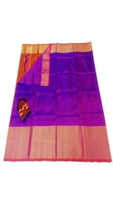 Violet & Orange Uppada Silk Saree With Contrast Pallu-yespoho