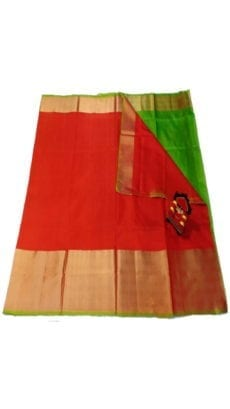 Dark Red & Green Uppada Silk Saree With Contrast Pallu-yespoho