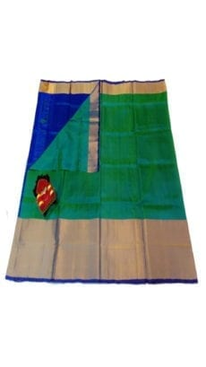Dark Green & Royal Blue Uppada Silk Saree With Contrast Pallu-yespoho