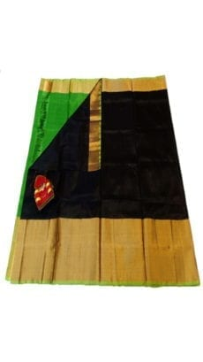 Black & Parrot Green Uppada Silk Saree With Contrast Pallu-yespoho