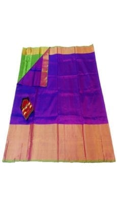 Violet & Parrot Green Uppada Silk Saree With Contrast Pallu-yespoho