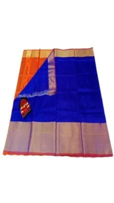 Dark Blue & Orange Uppada Silk Saree With Contrast Pallu-yespoho