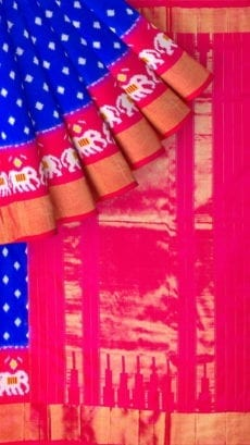 Dark Blue & Magenta Ikkat Pochampally Silk Saree-yespoho