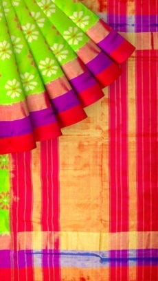 Parrot Green & Red Ikkat Pochampally Silk Saree-yespoho