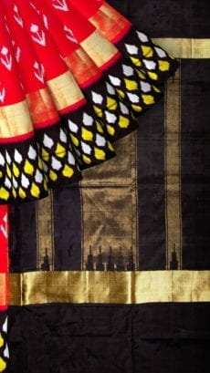 Red & Black Ikkat Pochampally Silk Saree-yespoho