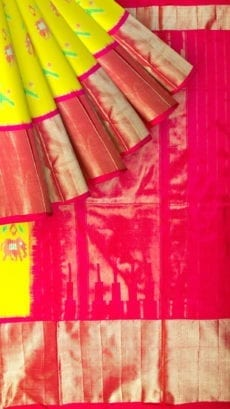 Bright Yellow & Magenta Ikkat Pochampally Silk Saree-yespoho