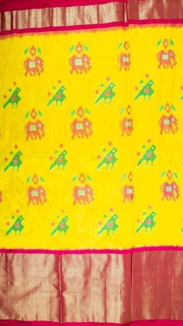 Yespoho Bright Yellow & Magenta Ikkat Pochampally Silk Saree