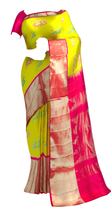 Bright Yellow & Magenta Ikkat Pochampally Silk Saree Pochampallysilk Thanksgiving Winter Sale Yespoho Sarees New Arrivals Ikkat Sarees