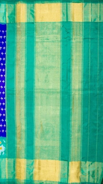 Dark blue Dark Blue & Sea Green Ikkat Pochampally Silk Saree
