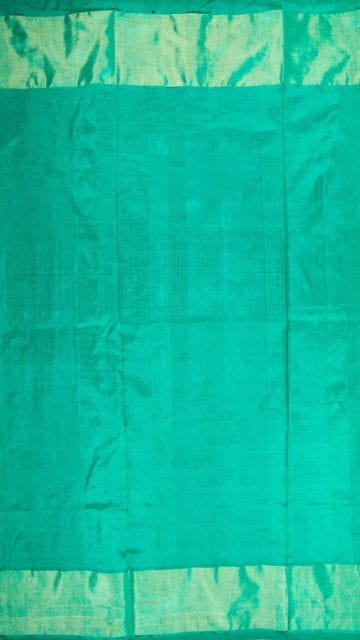 Shop Dark Blue & Sea Green Ikkat Pochampally Silk Saree Online