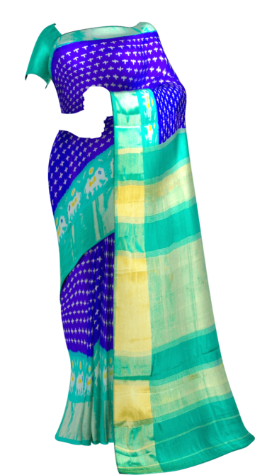 Dark Blue & Sea Green Ikkat Pochampally Silk Saree Pochampallysilk Thanksgiving Winter Sale Yespoho Sarees New Arrivals Ikkat Sarees