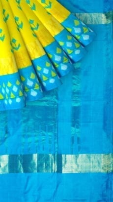 Yellow & Sky Blue Ikkat Pochampally Silk Saree-yespoho