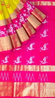 Yellow & Pink Ikkat Pochampally Silk Saree-yespoho