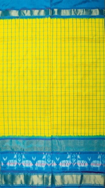 Yespoho Bright Yellow & Sky Blue Ikkat Pochampally Silk Saree