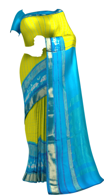 Bright Yellow & Sky Blue Ikkat Pochampally Silk Saree Pochampallysilk Thanksgiving Winter Sale Yespoho Sarees New Arrivals Ikkat Sarees