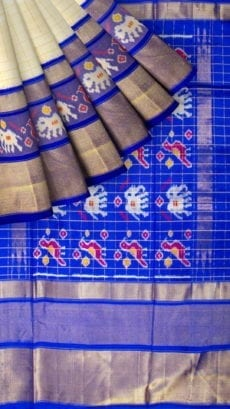 Cream & Dark Blue Green Ikkat Pochampally Silk Saree-yespoho