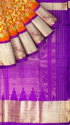 Orange & Lavender Ikkat Pochampally Silk Saree-yespoho