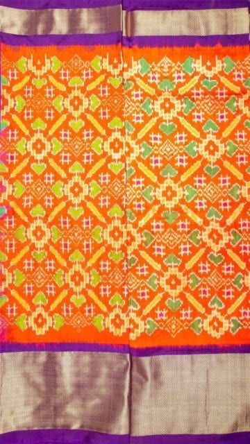 Yespoho Orange & Lavender Ikkat Pochampally Silk Saree