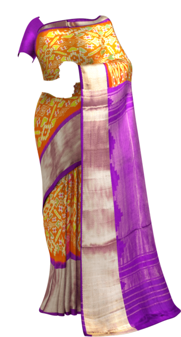 Orange & Lavender Ikkat Pochampally Silk Saree Pochampallysilk Thanksgiving Winter Sale Yespoho Sarees New Arrivals Ikkat Sarees