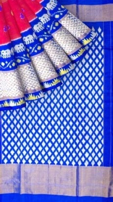 Pink & Dark Blue Ikkat Pochampally Silk Saree-yespoho