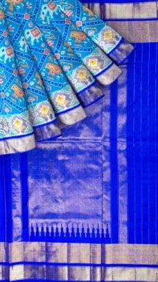 Dark Blue & Sea Green Ikkat Pochampally Silk Saree-yespoho