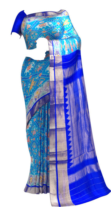 Dark Blue & Sea Green Ikkat Pochampally Silk Saree Pochampallysilk Yespoho Sarees Ikkat Sarees