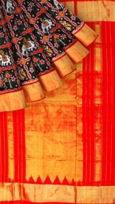 Black & Red Ikkat Pochampally Silk Saree-yespoho