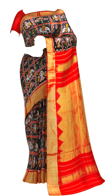 Black & Red Ikkat Pochampally Silk Saree Pochampallysilk Thanksgiving Winter Sale Yespoho Sarees New Arrivals Ikkat Sarees