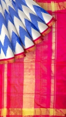 Light Blue & Pink  Ikkat Pochampally Silk Saree-yespoho