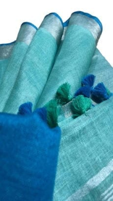 Sky Blue & Dark Blue Linen Saree With Silver Border-yespoho