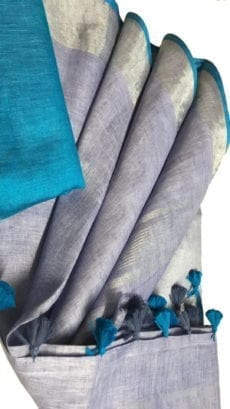 Sky Blue & Grey Linen Saree With Silver Border-yespoho