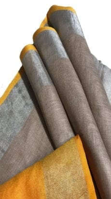 Mustard Yellow & Grey Linen Saree With Silver Border-yespoho