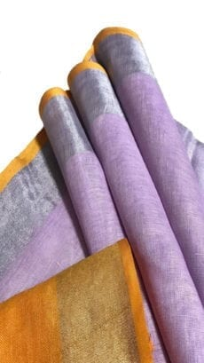 Mustard Yellow & Light Purple Linen Saree With Silver Border-yespoho
