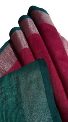 Maroon & Dark Green Linen Saree With Silver Border-yespoho