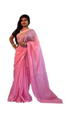 Light Pink Tussar Modal Silk Saree-yespoho