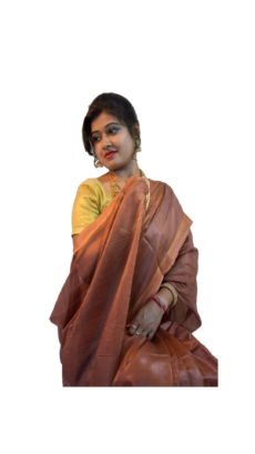 Coffee Brown Tussar Modal Silk Saree-yespoho