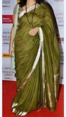 Mehendi Green Linen Saree with Golden Border-yespoho