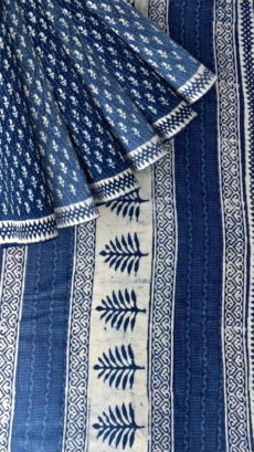 Indigo Blue & White Dabu Print Cotton Saree-yespoho