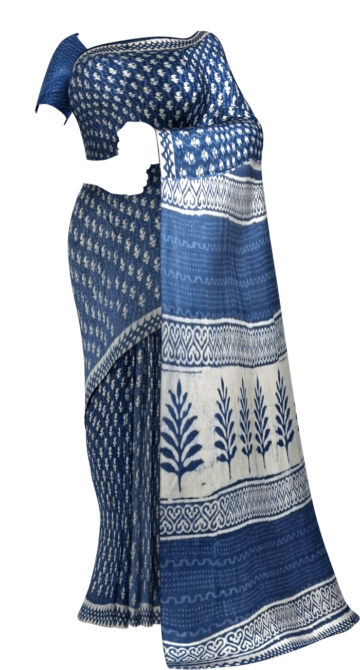Indigo Blue & White Dabu Print Cotton Saree Cotton Sarees Thanksgiving Winter Sale Yespoho Sarees Handpicked Collections New Arrivals