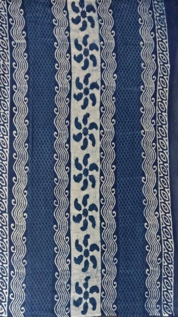 Blue Indigo Blue & White Dabu Print Cotton Saree