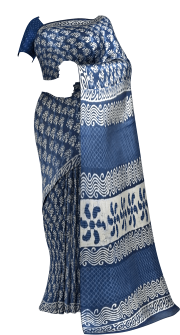 Indigo Blue & White Dabu Print Cotton Saree Cotton Sarees Diwali Sale Yespoho Sarees Handpicked Collections New Arrivals