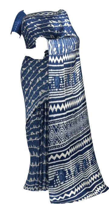 Indigo Blue & White Dabu Print Cotton Saree Cotton Sarees Happy Holidays Sale Saree25 Year End Dhamaka Yespoho Sarees Handpicked Collections New Arrivals