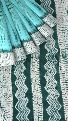 Sea Green & Teal Blue Shibhori Cotton Saree-yespoho