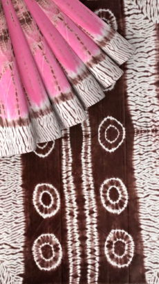 Pink & Coffee Brown Shibhori Cotton Saree-yespoho