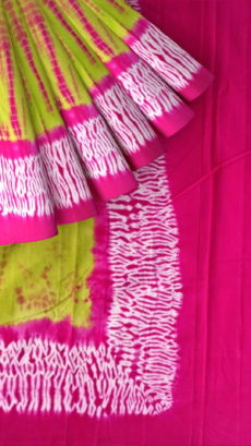 Mehandi Green & Pink Shibhori Cotton Saree-yespoho